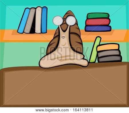 Cartoon Illustration of Snail Working as Librarian