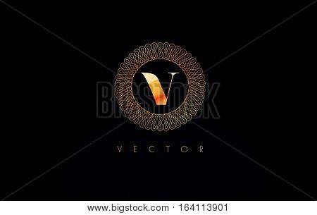 Circle V Logo. V Letter Circular Design Vector.Luxury Jewelry Gold Logo