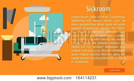 Sickroom Conceptual Banner | Great flat illustration concept icon and use for building, interior, furniture, architecture, and much more.