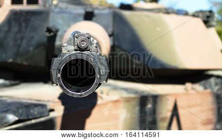 Looking down the barrel of a battle tank
