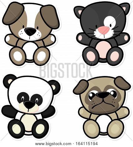 vector cartoon illustration of four baby animals isolated on white background ideal for children decoration
