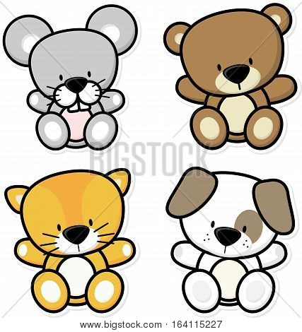 vector cartoon illustration of four cute baby animals isolated on white background ideal for children decoration