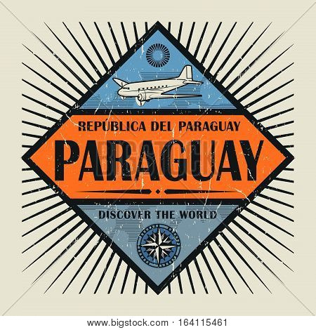 Stamp or vintage emblem with airplane compass and text Paraguay Discover the World vector illustration