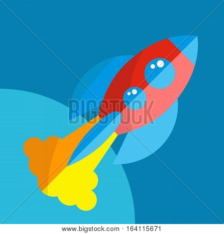 Rocket Or Spaceship Flat Icon Isolated