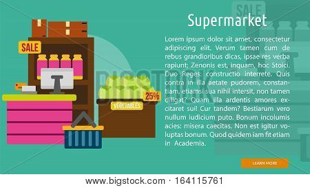 Supermarket Conceptual Banner   Great flat illustration concept icon and use for building, interior, furniture, architecture, and much more.