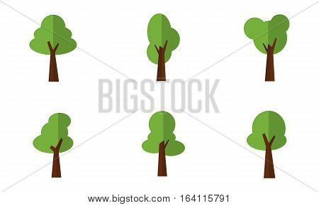 Set of tree vector art collection stock