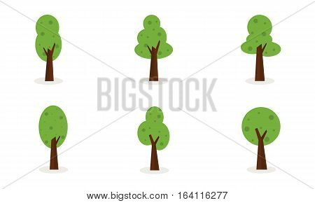 Vector art of trees set collection stock