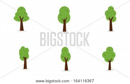 Set of tree collection stock vector art