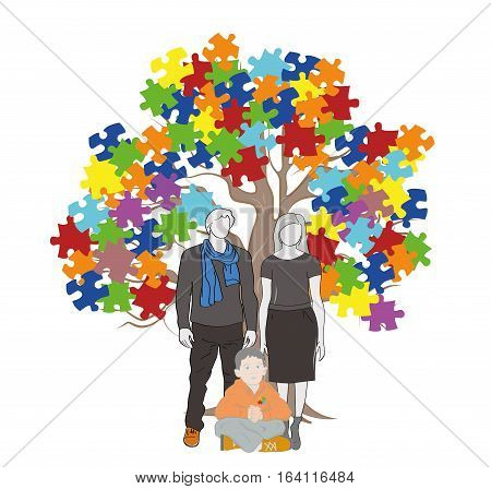 Parents and child sitting under a tree. Puzzle Pieces in Autism Awareness Colors Background, 3D rendering