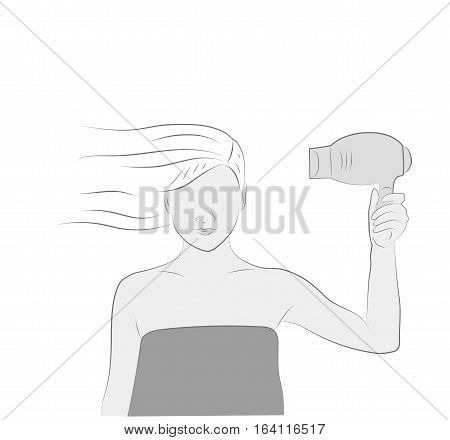 woman with a hair dryer dries hair. vector illustration.