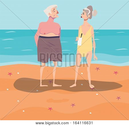 Vector illustration of old-aged couple having rest on beach. Comic cartoon ugly characters in swimwear. Summertime.