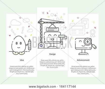 Vector set of vertical banners with Idea, Design and Advancement concept. 3 steps of creating design product or service. Thin line flat style elements, icons for web, marketing, presentation, printing