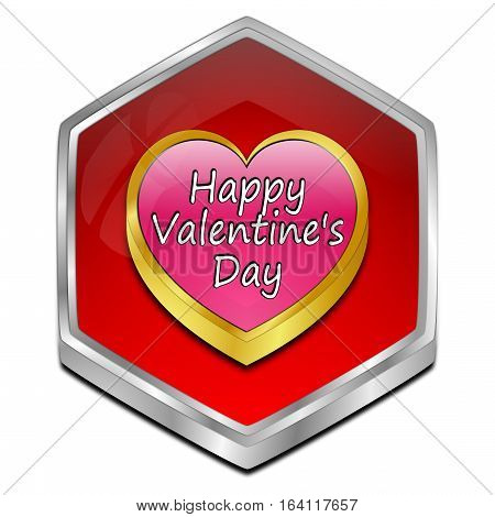 Happy Valentine's Day button - 3D illustration