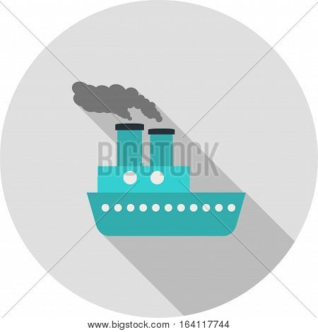 Steamboat, boat, sea icon vector image. Can also be used for vehicles. Suitable for use on web apps, mobile apps and print media.