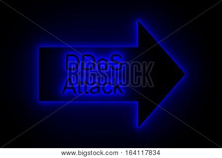DDoS attack presents in the neon glow 3d illustration