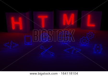 HTML is presented in the form of a neon glow 3d illustration