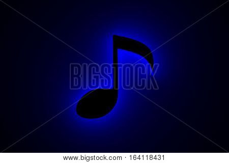 musical note is presented in the form of a neon glow 3d illustration