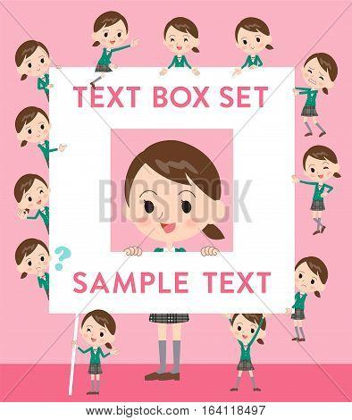 School Girl Green Blazer Text Box