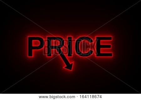 text with arrow shows price drop  3d illustration