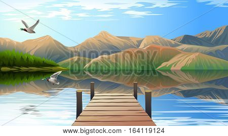 Vector illustration of a view of the lake and pier