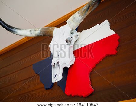 Buffalo skull with longhorn put on Texas map paint with Texas flag all attach or hang on brown wooden wal