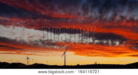Wind Turbine Under Sunset Sky Near Stead, Nevada