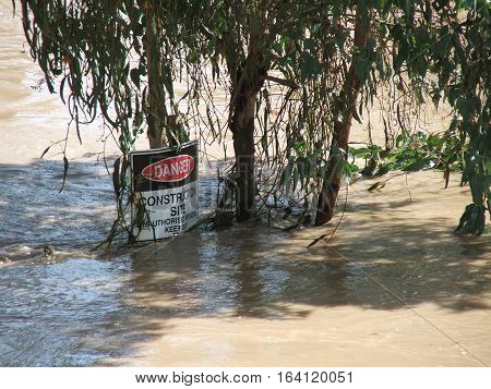 Construction site in Rockhampton under water during a Fitzroy River flood.