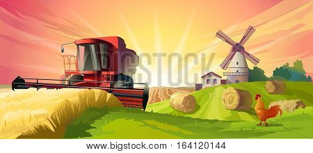Vector illustration rural summer landscape with a windmill and combine harvester in the foreground