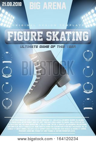 Poster Template of Ice Figure Skating with ice skate boots. Competition Advertising and Announcement. Vector Illustration.