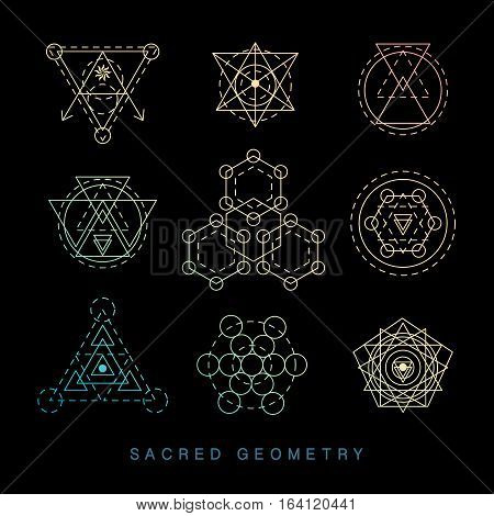 Sacred geometry signs set. Linear Modern Art. Religion philosophy spirituality esoteric symbols