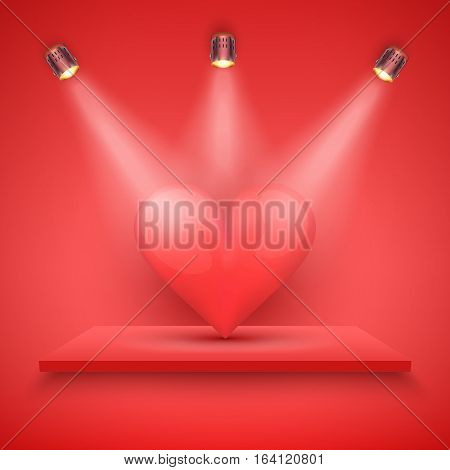 Light box with red platform on red backdrop with spotlights and big heart. Editable Background Vector illustration.