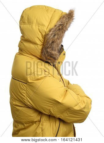 Guy Wearing A Yellow Winter Jacket