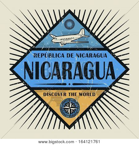 Stamp or vintage emblem with airplane compass and text Nicaragua Discover the World vector illustration