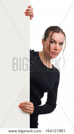 Beautiful Woman Presenting Blank White Banner