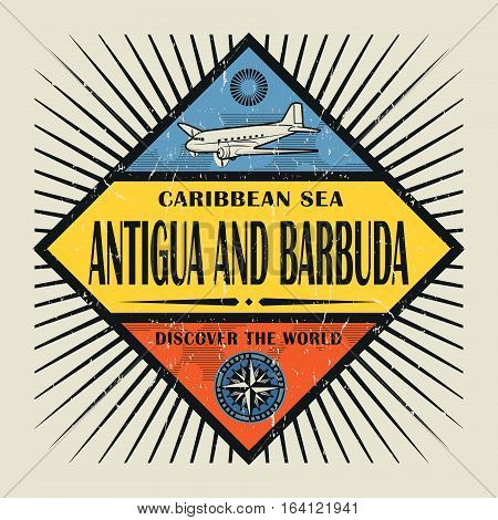 Stamp or vintage emblem with airplane compass and text Antigua and Barbuda Discover the World vector illustration