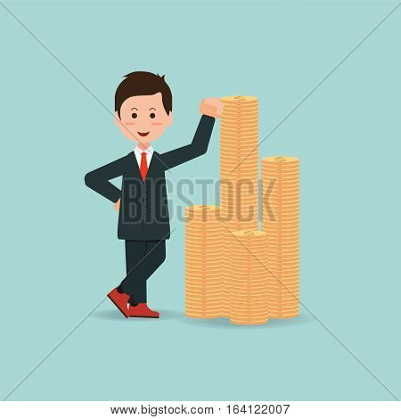 Happy businessman standing near a pile of gold coins business success conceptual cartoon flat design vector Illustration.