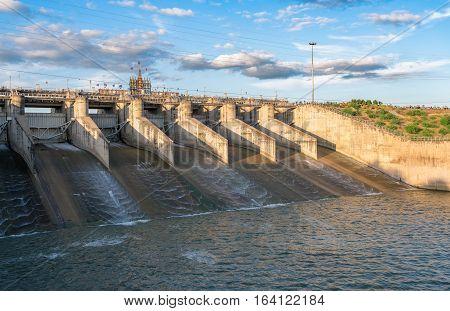 Dam Gate In Evening, The Pa Sak Cholasit Dam