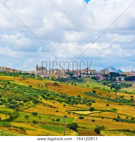 View to the Medieval City of Biancavilla in Sicily