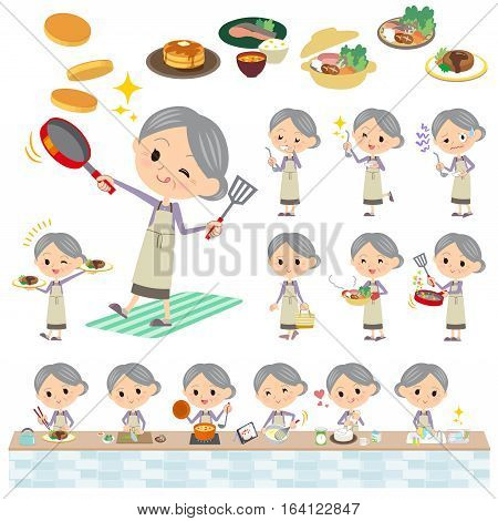 Set of various poses of Purple clothes grandmother cooking