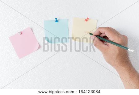 Hand Man Write On Paper Note With Pin On Foam Sheet