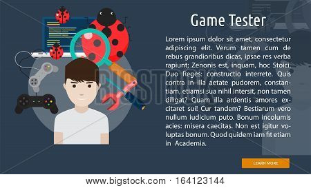 Game Tester Conceptual Banner | Great flat illustration concept icon and use for human, profession, athlete, work, event and much more.