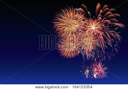 Fireworks Celebration And The Twilight Sky Background.