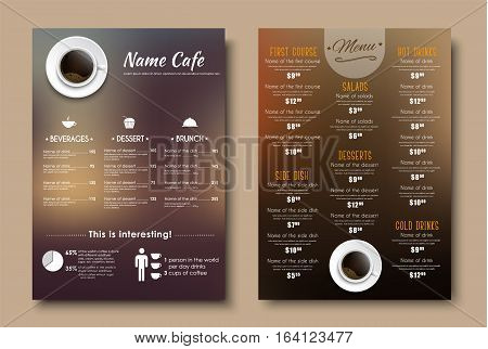 Design menus for a restaurant cafe or coffeehouse A4. Template flyers with brown blurred background top view of the cup and the price tag on the dishes. Vector illustration. Set