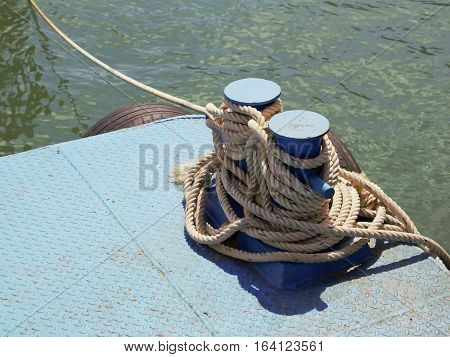 Rope in har bour for design background.