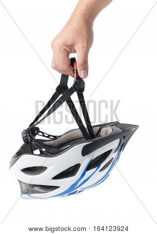 Hand man holding bicycle mountain bike safety helmet isolated on white
