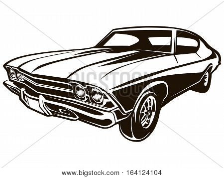 Retro Muscle Car Isolated
