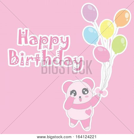 Birthday illustration with cute baby pink panda bring balloons suitable for birthday invitation card, greeting card, and postcard