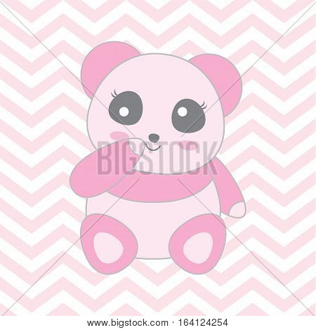 Baby shower illustration with cute baby pink panda on chevron background suitable for baby shower invitation card, greeting card, and nursery wall