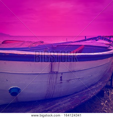 Wooden Boats on the Mediterranean Coast in the Italian City of Cetara at Sunset Instagram Effect