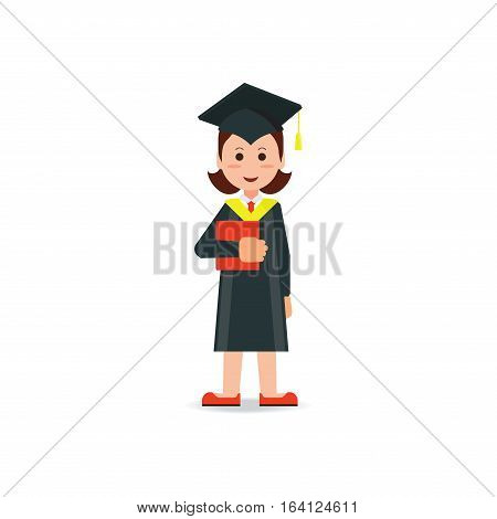 Happy student graduated wearing mortar board hat and gown isolated on white background education success conceptual cartoon character Flat style vector illustration.